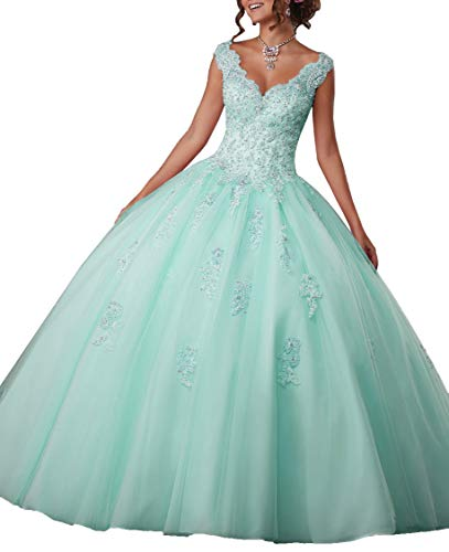 Da Vinci Quinceanera Dresses - EileenDor Women's V Neck Sleeveless Quinceanera Dresses Embroidery Beading 15 Dresses Sexy Open Back Formal Prom Gown Mint