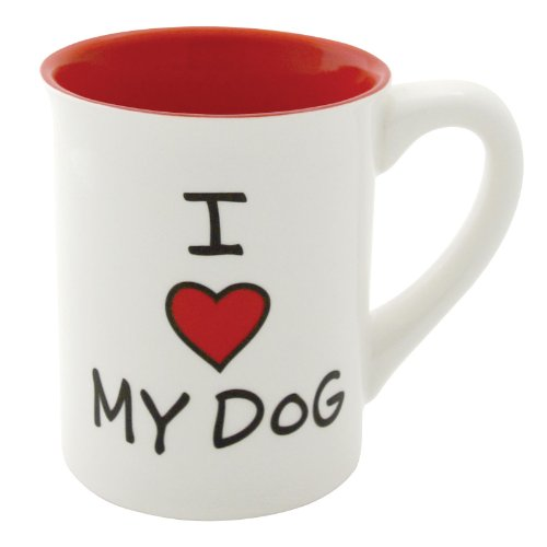"""Our Name is Mud """"I Heart My Dog"""" Stoneware Mug, 16 (Painted Dogs Halloween)"""