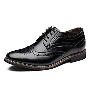 Blivener Men's Brogue Oxford Wingtip Dress Shoes Lace Up
