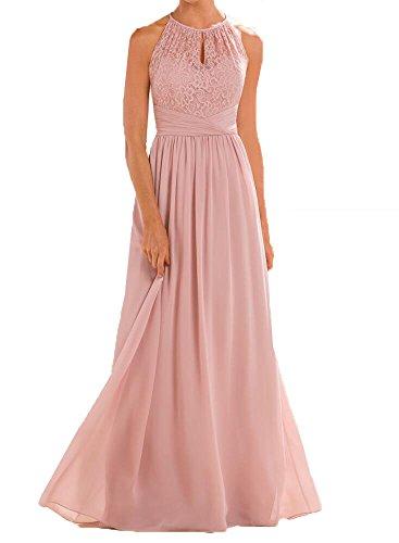 Firose High Neckline Halter Lace A-line Chiffon Floor-length Bridesmaid Dress Blush US 10
