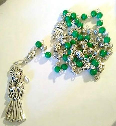 Amazon com: Santa Muerte Rosary - Justice Green/Silver - Handmade by