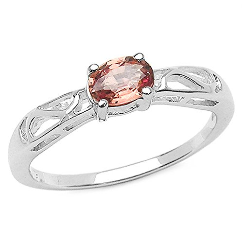 Genuine Oval Orange Sapphire Ring in Sterling Silver - Size 7.00