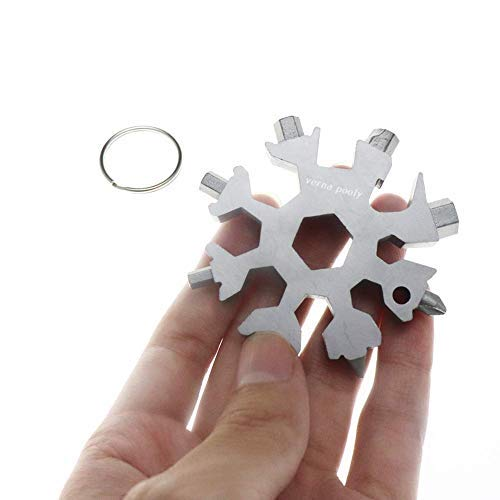 18-In-1 Stainless Multi-Tool Screwdriver Keychain Snowflake Multi-Tool Card Combination Bottle Opener Incredible Tool