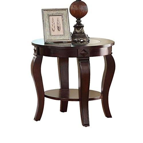 acme AC-00452 end Tables, Walnut & Clear Glass