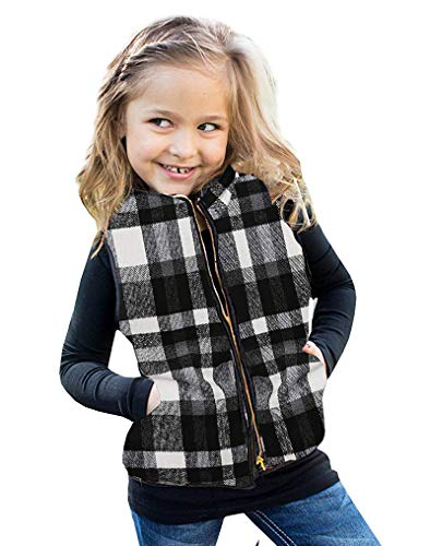 Girls Buffalo Quilted Lightweight Vests Outwear Zip Up Padded Sleeveless Outdoor Jackets