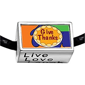 Chicforest Silver Plated Give Thanks In Thanksgiving Photo Live Love Laugh Charm Beads Fits Pandora Bracelets