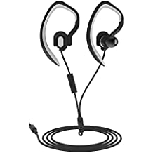 Sports Earhook Headphones In Ear Headphones workout headphones Waterproof Earphone Stereo 3.5mm Jack Headphone with Mic for Running Gym Jogging Earphones for iPod iPhone Samsung(Black)