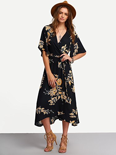 Milumia Women S Deep V Neck Floral Chiffon Wrap Midi Dress