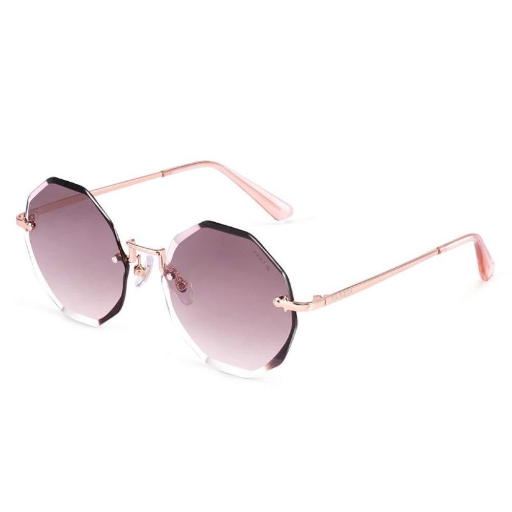 Women'S Sunglasses Frameless Trimming Nylon Lens Trend Sunglasses Red Brown