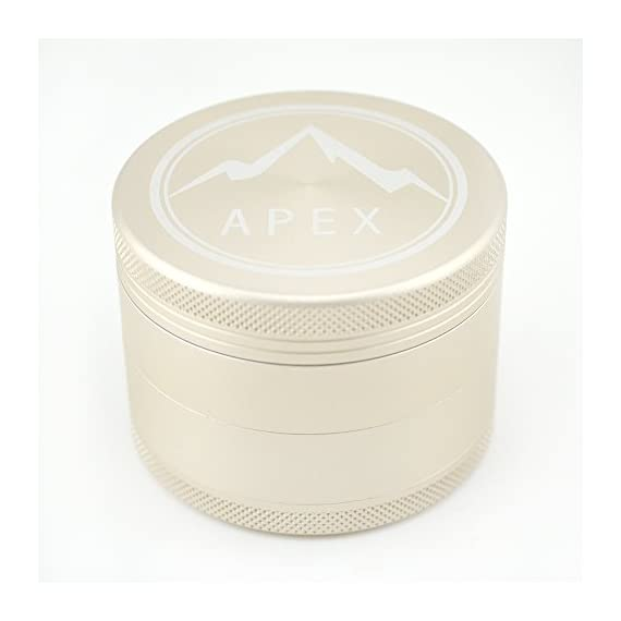Herb Grinder Apex Premium 4 Piece With Pollen Catcher 2.5 Inch 4 piece grinder Top Rated Herb Grinder Includes carrying case and pollen scraper (Champagne Platinum) 9 <p>GET THE MOST OUT OF YOUR HERBS, WITH THE UNIQUE ATTENTION GRABBING STYLE OF AN APEX PREMIUM-QUALITY HERB GRINDER TODAY FREE Shipping - Lifetime Warranty - Order Now Save Money by Conserving Your Herbs - Using the newest in CNC technology, our blades are the sharpest and most effective of any grinder ever made giving you a slower burning, longer lasting herbal experience. Pump Up the Potency - Our strong steel screens are perfect for collecting the finest pollen, and increasing the potency of your herbs. We even include a pollen scraper to maximize pollen collection. World's Smoothest Grinding Experience - The magnetic top and friction reducing ring to allow for the smoothest grinding experience possible. Built to Last a Lifetime - Apex grinders are made from the highest quality aircraft grade aluminum making them tougher, and more durable than other grinders. Lifetime Warranty and FREE Shipping - If for any reason you're unsatisfied with your Apex Premium-Quality Herb Grinder, you can send it back for a full refund. No questions asked.</p>