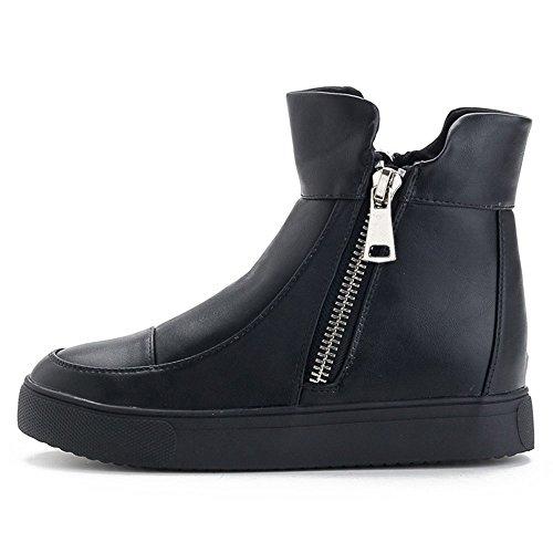 Dayiss® Damen Chelsea Boots Sicherheits Stiefel Biker Boots Kurzschaft PU-Leder Stiefeletten Flach mit Reißverschluss Schwarz