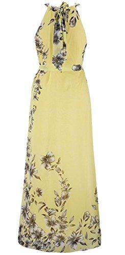 Chiffon kleid lang gelb
