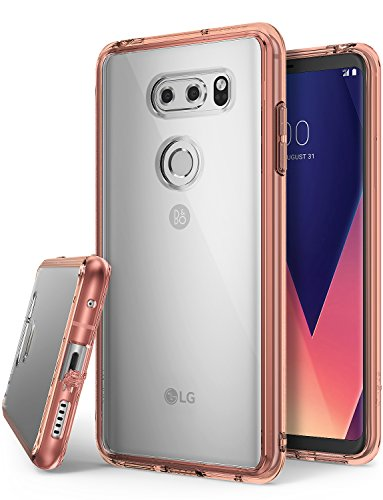 Ringke [Fusion] Compatible with LG V30 Case, V30 Plus, LG V30 ThinQ Case Clear Lightweight Minimalist Transparent PC Back TPU Bumper [Drop Protection] Raised Bezels Scratch Resistant - Rose Gold