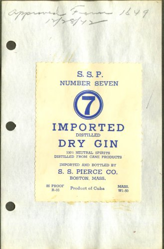 SSP Number 7 Imported Dry Gin label 1942 S S Pierce