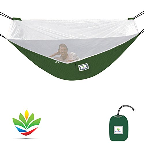 Mosquito Free Hammock Bliss – Camping Hammock With Bug Screen Mossy Netting Canopy - Integrated Suspension 100' / 250 cm Rope Per Side - Make Hammock Camping A Bug Free Experience