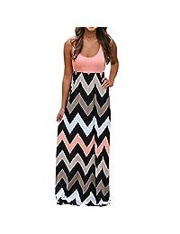 Tootu Womens Summer Striped Long Boho Dress Beach Sundrss Maxi Dress