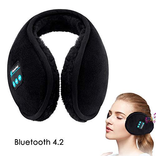 Earmuff Headphones,WU-MINGLU Bluetooth Earmuffs,Wireless Music Over-Ear Headsets Ear Warmer,Foldable Soft Earmuffs,Ear Muffs for Winter Outdoor Men Women (Black)