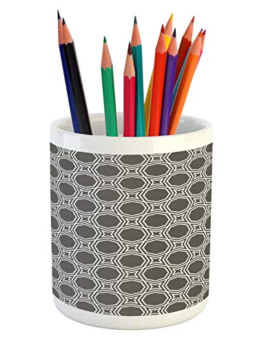 Ambesonne Geometric Pencil Pen Holder, Octagons with Star Pattern Monochrome Culture Illustration, Printed Ceramic Pencil Pen Holder for Desk Office Accessory, Charcoal Grey White
