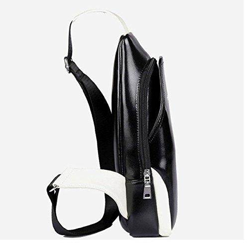 NiNE CiF Para Hombres Bolso Mochila de Pecho cuero Charminer Bolso Pecho Deportivo Bolsa Sling CrossBod Bag (Azul) Negro