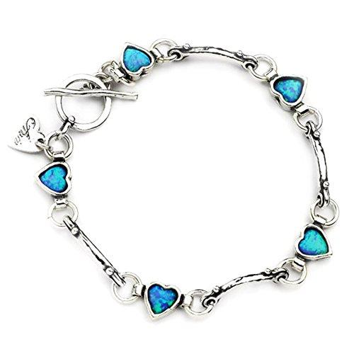 Classique Aviv Bijoux en argent sterling Bracelet Cœur en Opale: Bleu