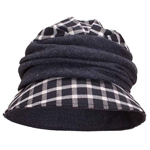 Vintage Style Tartan Plaid Wool Blend Cloche Bucket Hats Gray