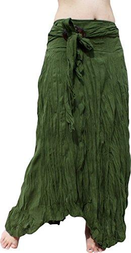(Raan Pah Muang Brand Wild Light Cotton Gypsy Pixie Dancing Long Skirt Coconut Buckle, Medium, Asparagus)