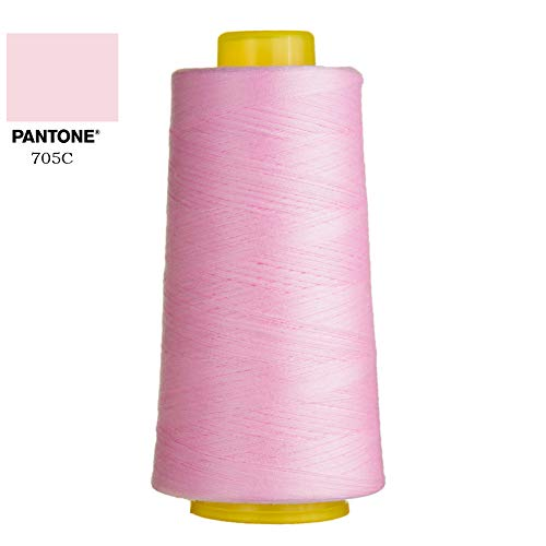 Polyester Sewing Thread Solids 3000 Yards All Purpose Thread 40S/2 Polyester Thread for Quilting, Dress Making, General Stitching Machines and Handmade Project Many Colors Pink