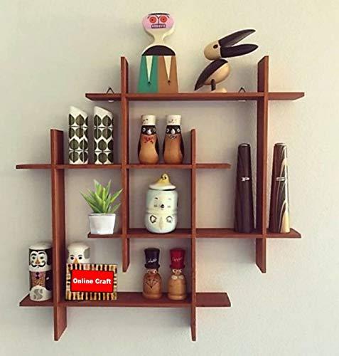 onlinecraft Wooden Wall Shelf  Colour Brown
