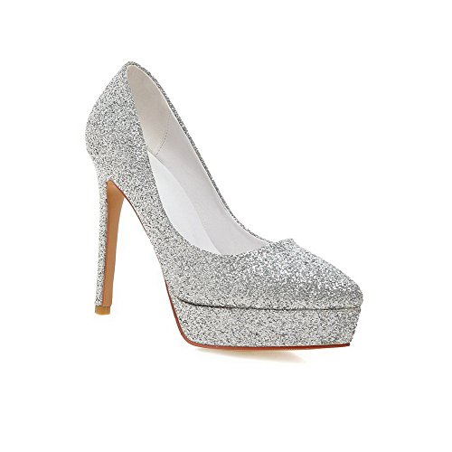 AllhqFashion Women's Soft Material Pointed Closed Toe High-Heels Pumps-Shoes with Sequin, Silver, (Halloween Stores Nearby)