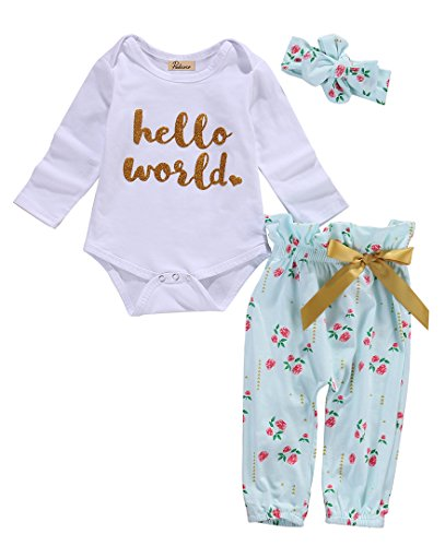 (3Pcs Infant Newborn Baby Girls Hello World Romper Tops+Pants Clothes Outfit Sets (0-6 Months, White)