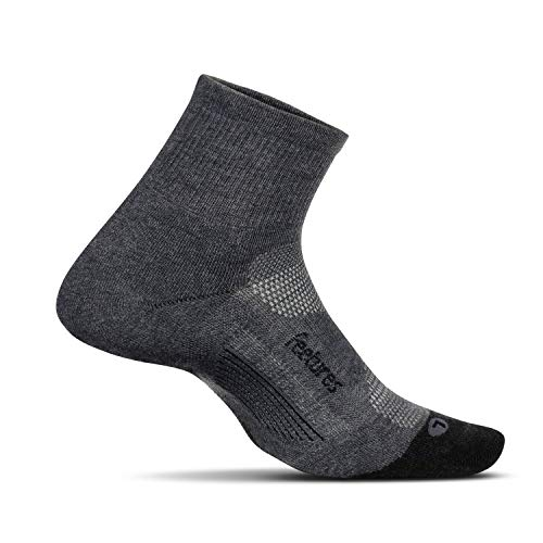 Feetures - Elite Max Cushion - Quarter - Athletic Running Socks for Men and Women - Gray - Size X-Large