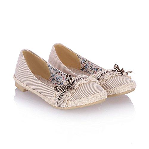 Beige de Cabeza Pa Mujer Boca Redonda o Pisos QXH Sandalias Superficial Fino Zapatos de O4q5Sw