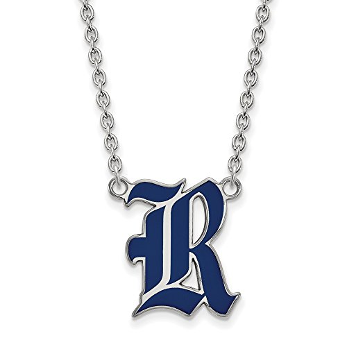 Mia Diamonds 925 Sterling Silver LogoArt Rice University Large Enamel Pendant with Necklace