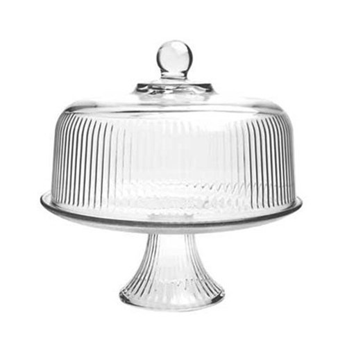 Anchor Hocking Monaco Cake Set with Ribbed Dome (Plate Cake Anchor Hocking)