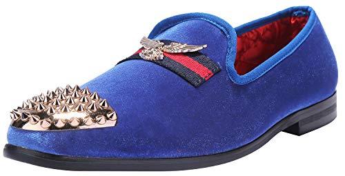 ELANROMAN Mens Loafers Velvet Dress Shoes Penny Slip on Genuine Leather Insole Metallic Textured Glitter Loafers Luxury Men Velvet Shoes Blue US 9.5 EUR 43 Feet Lenght 290mm