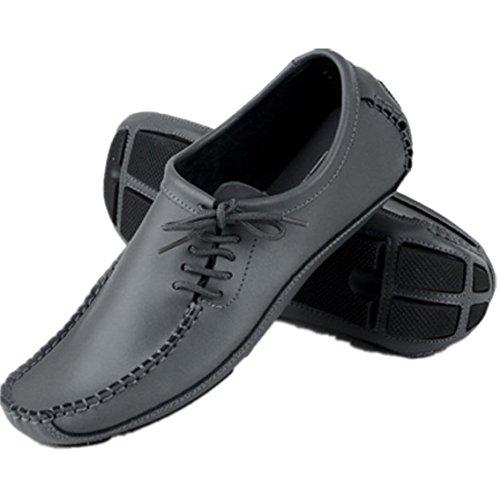 SODIAL(R) Beilaeufige Schuhe der Maenner Leder Fahrschuhe Erbsenschuhe Schuhe schwarz 39 Grau