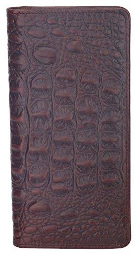 Mens RFID Blocking Wallet Vintage Genuine Leather Long Wallet Card Holder Bifold Croco