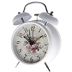 Bedside Super Loud Retro Twin Bell Analog Battery Operated 4 Alarm Clock with Backlight Designed for Heavy Sleeper Bedroom, Classic White Frame with Pink Floral Roses Pattern
