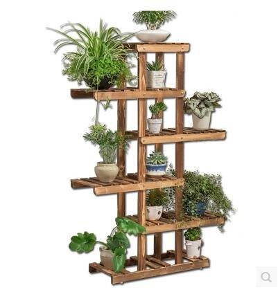 木製盆栽木製バルコニーリビングルームインテリア花棚 B073P77PXS