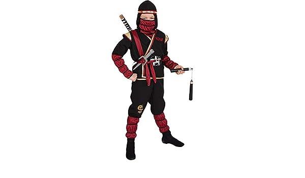 Amakando Disfraz de Guerrero Ninja para niño Negro-Rojo ...