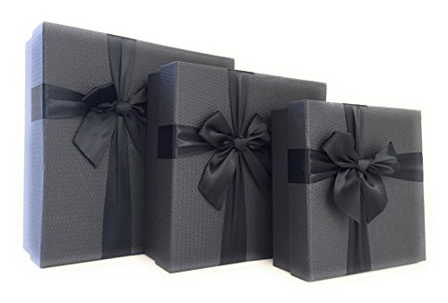 Cypress Lane Gift Boxes with Ribbon, a Nested Set of 3 (Black) by Cypress Lane