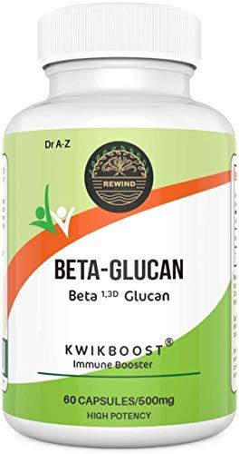 Beta Glucan Extract Veggie Capsules Boost Immune System, Pure Super Beta 1,3 Glucan 500mg KwikBoost Immune System…