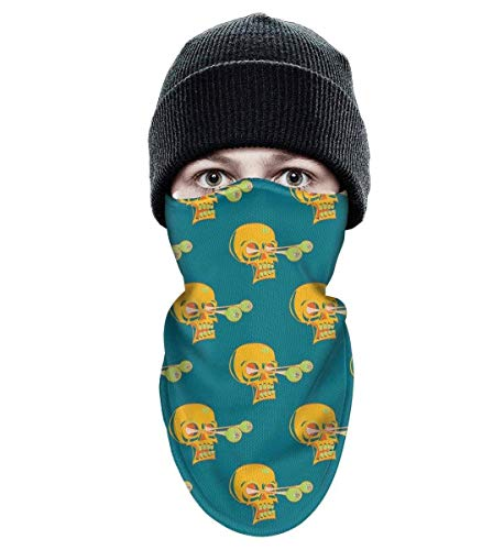 srygjukuu Tough Headwear Death Emoji Mexican Skull Makeup Flag Wind-Resistant Winter Ski Mask Balaclava for Motorcycling Cycling Bike Bandana Hiking Skateboard Skiing