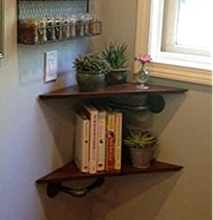 Pair Of Industrial Style Corner Shelves