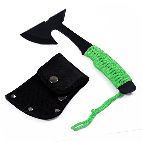 Ultra Lightweight Camping Micro Axe Hatchet Green Paracord Wrapped Handle by ASR Outdoor