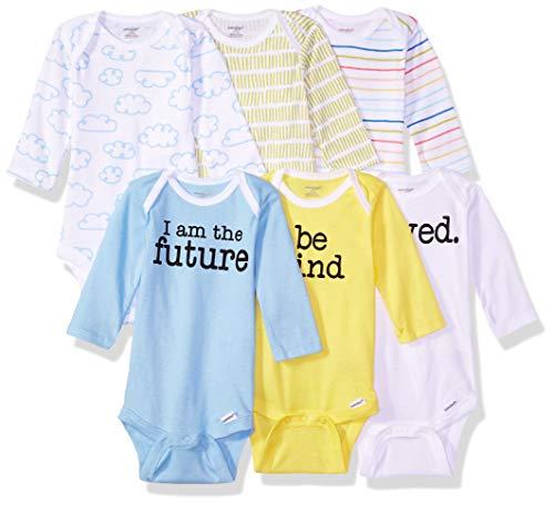 Onesies Brand Baby 6-Pack Long-Sleeve Bodysuit, Clouds, 6-9 - Yellow Sleeve Long Onesie