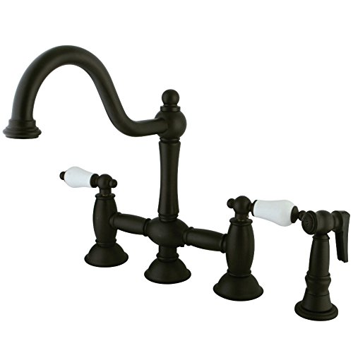Kingston Brass KS3795PLBS Restoration 8-Inch Center Kitchen Faucet with BRS SPR, Oil Rubbed Bronze