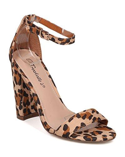 Chunky Leopard (Women Leopard Chunky Heel Sandal - Dressy, Formal, Wedding, Versatile - Ankle Strap Heel - GG68 by Breckelles - Leopard (Size: 8.0))