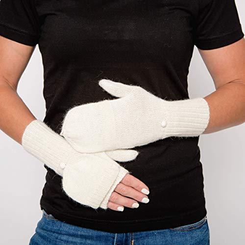 Surhilo Paita Alpaca Knit Convertible Fingerless Mittens - Ivory Cream - Winter Luxury Hand Warmers for Women, Men & Kids