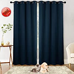 NANAN Blackout Curtain Panels Window Drapes, Thermal Insulated Solid Grommet Blackout Room Darkening Draperies for Bedroom/Living Room- W52 x L84 inch,2 Panels, Navy Blue